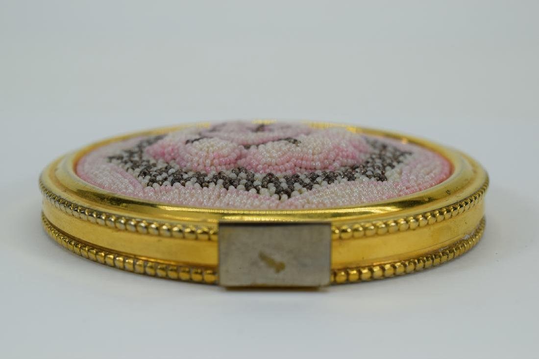 VINTAGE PINK FLORAL BEADED LARGE COMPACT + - 7