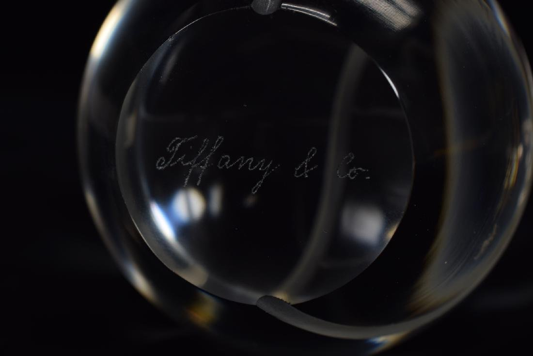 TENNIS BALL FLASK + TIFFANY CO CRYSTAL PAPERWEIGHT - 8