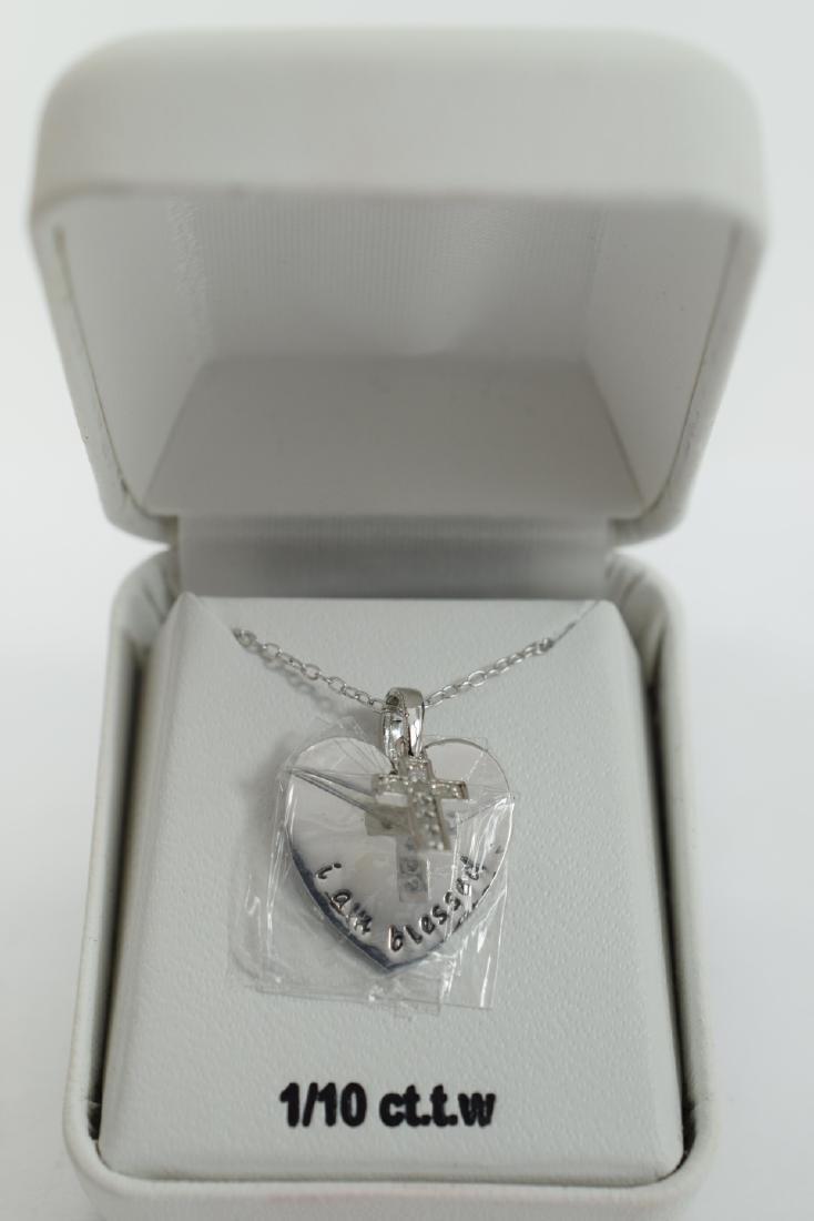 STERLING SILVER DIAMOND CROSS PENDANT NECKLACE - 3