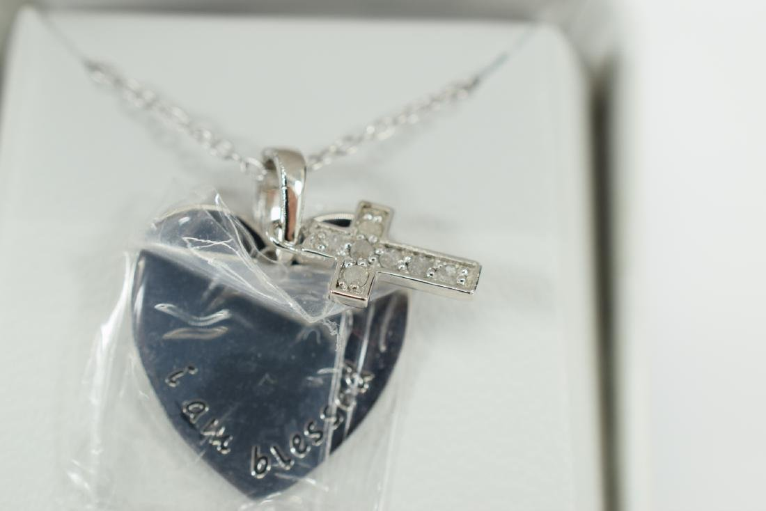 STERLING SILVER DIAMOND CROSS PENDANT NECKLACE - 5