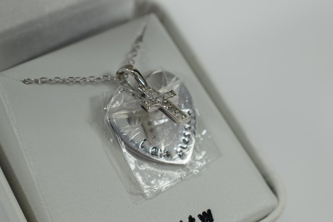 STERLING SILVER DIAMOND CROSS PENDANT NECKLACE - 6