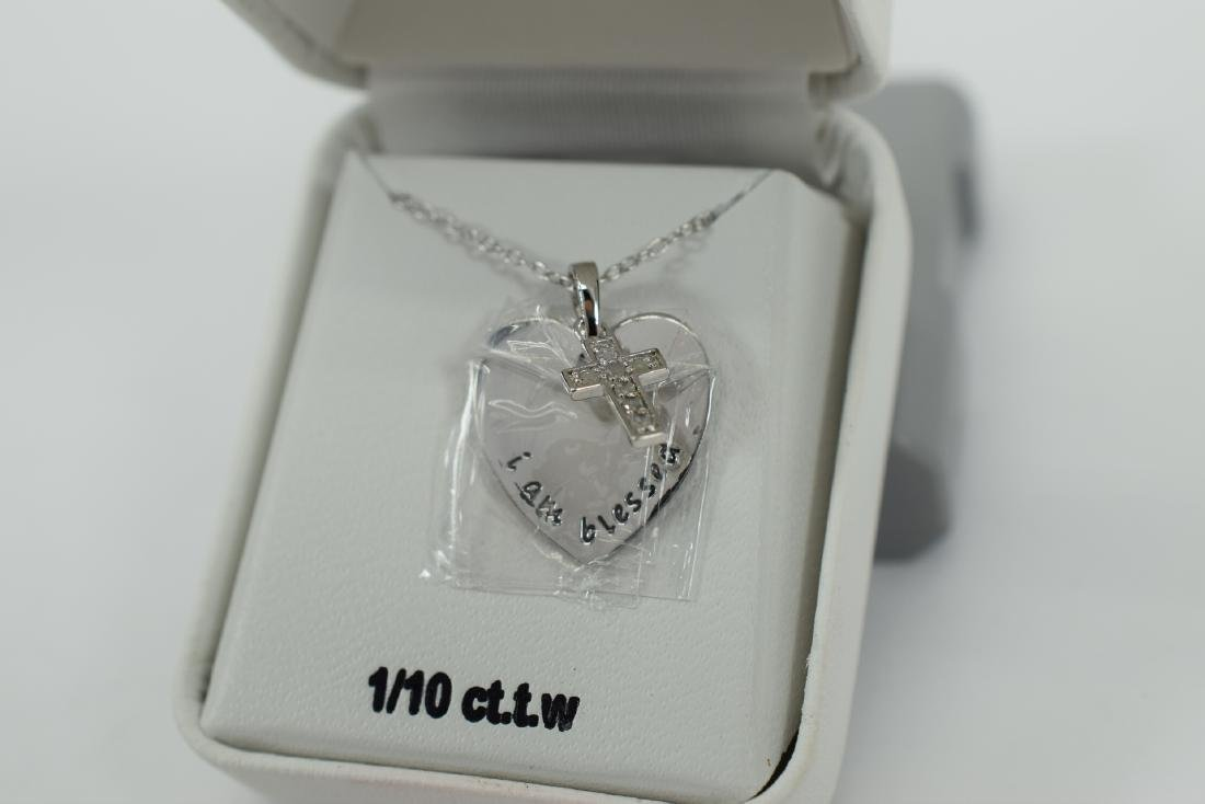 STERLING SILVER DIAMOND CROSS PENDANT NECKLACE - 7