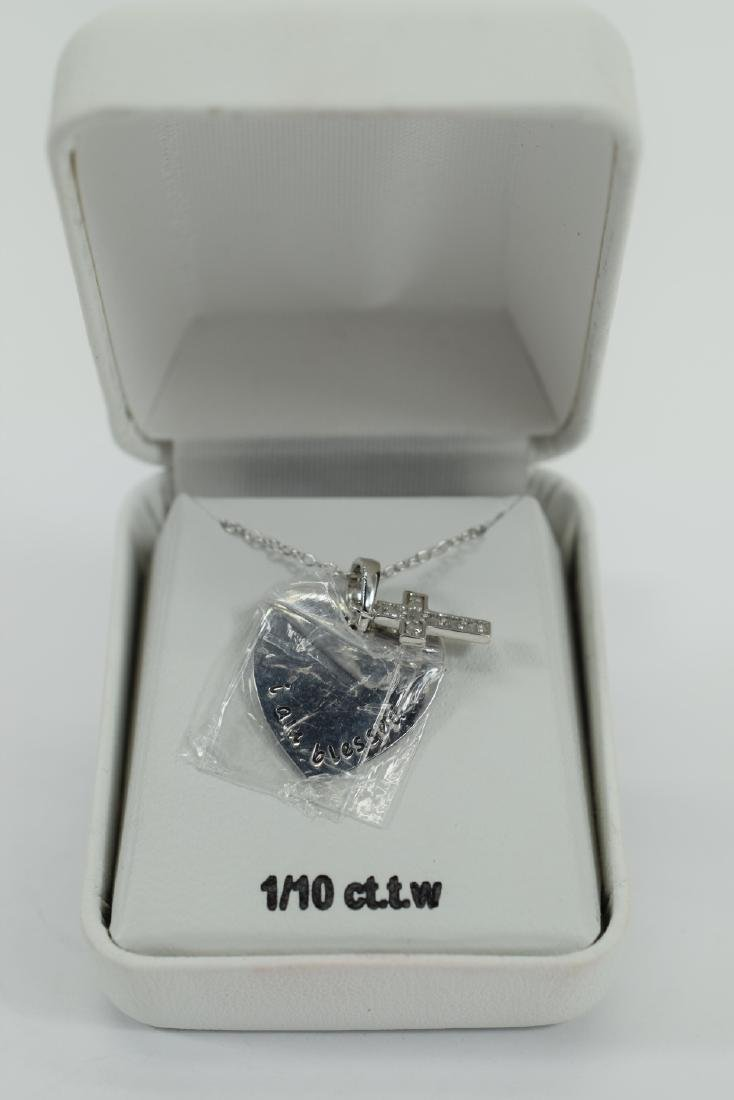STERLING SILVER DIAMOND CROSS PENDANT NECKLACE - 8