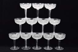 12 ST. LOUIS FLORENCE CRYSTAL CHAMPAGNE GLASSES