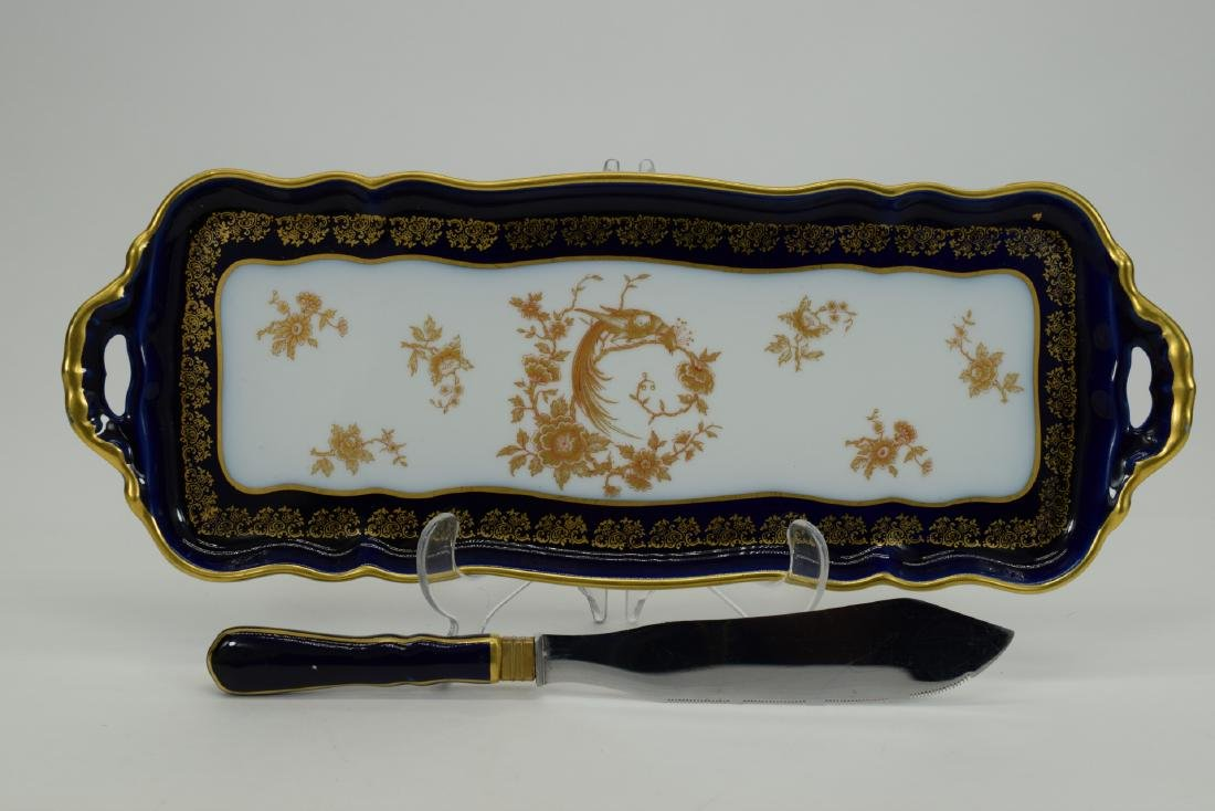 LIMOGES FRANCE PORCELAIN HANDLED SERVING TRAY