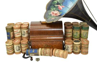 ANTIQUE EDISON PHONOGRAPH HORN CYLINDER RECORDS