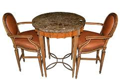 SPANISH HIGH TOP MARBLE TOP TABLE & 2 TALL CHAIRS