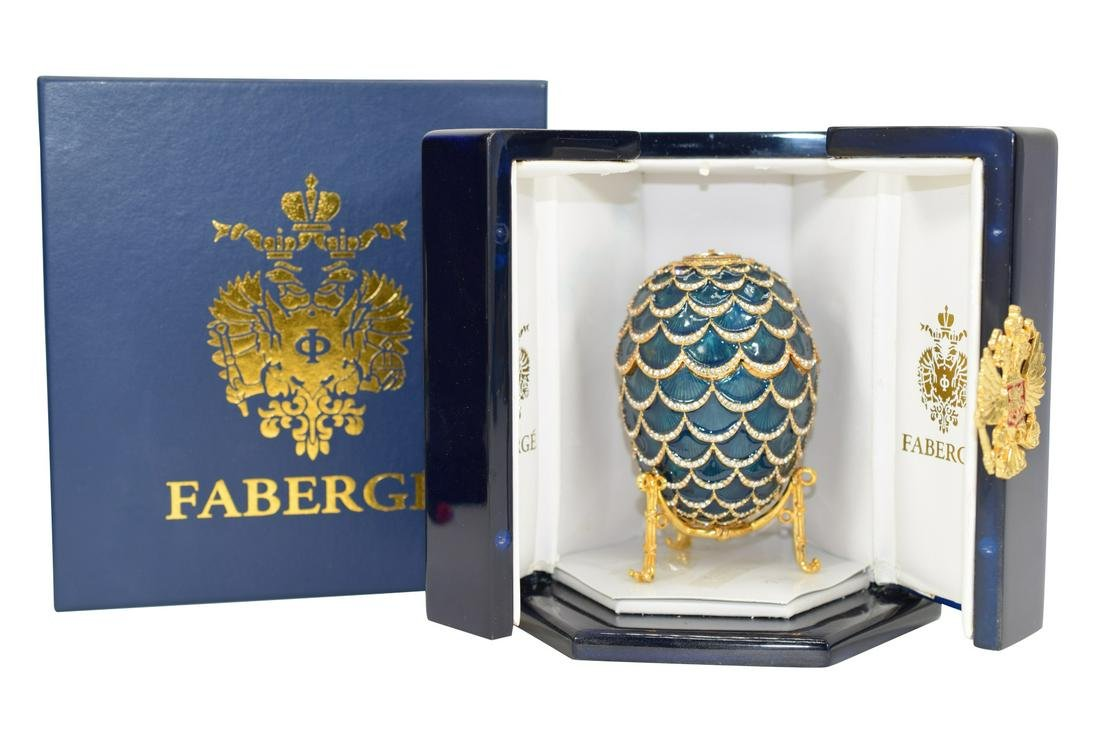 FABERGE IMPERIAL PINE CONE EGG W/ ELEPHANT RIDER