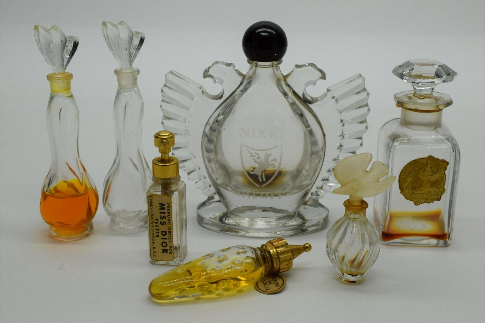 designer empty glass perfume bottle