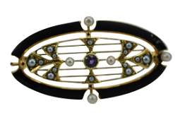 VICTORIAN 14K GOLD BLACK ENAMAL & SEED PEARLS PIN