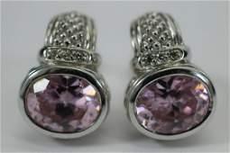 JUDITH RIPKA STERLING/18K DIAMOND GEMSTONE EARRING