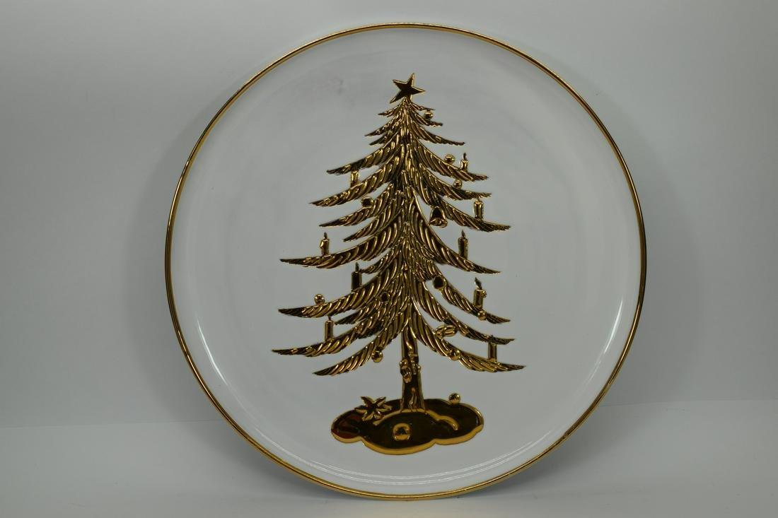 LARGE PORCELAIN GOLD CHRISTMAS TREE PLATTER