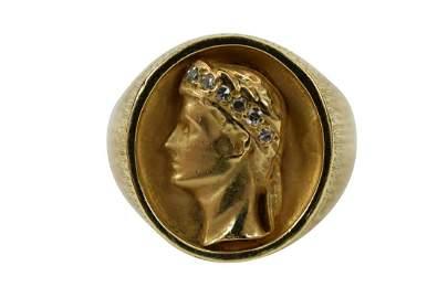 14K GOLD ROMAN HEAD W/ DIAMOND CROWN RING