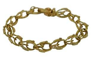 18K GOLD FLORAL DOUBLE LINK CHARM BRACELET