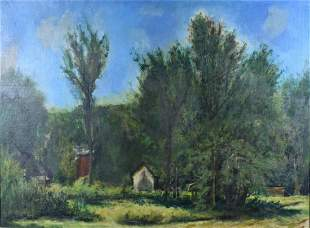 OIL ON CANVAS LANDSCAPE PAINTING SIGNED ILLEGIBLY