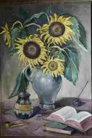 EMILE MORTIER OIL ON CANVAS STILL LIFE PAINTING