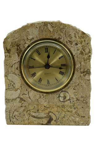 MARBLE & ONYX TOMBSTONE SHAPED CLOCK