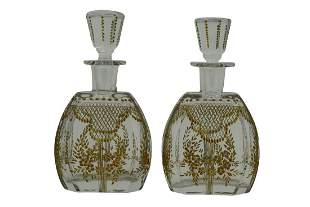 PAIR MOSER? HAND BLOWN? CRYSTAL PERFUME BOTTLES