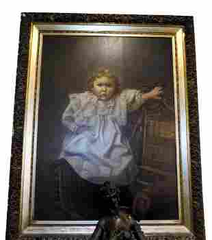 ANTIQUE OIL ON CANVAS PORTRAIT BY WILLIAM HENRY