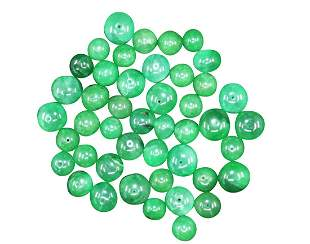 COLLECTION OF ROUND EMERALD BEADS