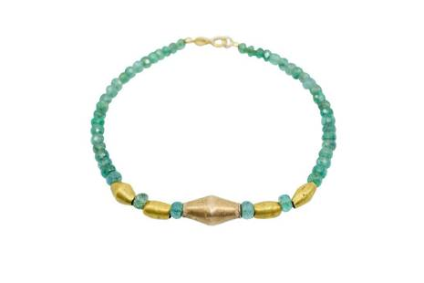 PRE-COLUMBIAN GOLD BRACELET WITH EMERALDS