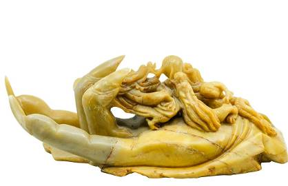 ANTIQUE ASIAN SOAPSTONE CARVED HAND