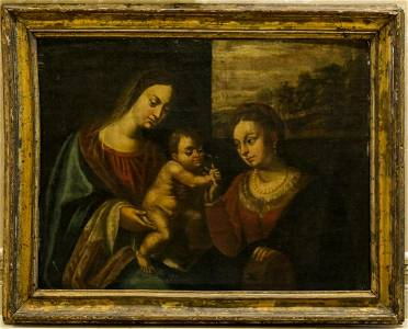 18TH C MEXICAN PAINTING OF VIRGIN, CHILD, ST. ANNE