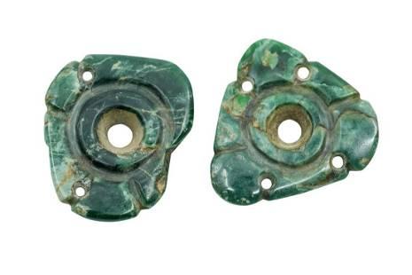 PRE-COLUMBIAN MAYAN JADE EAR SPOOLS