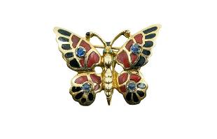 VINTAGE CORAL AND GEMSTONE BUTTERFLY BROOCH