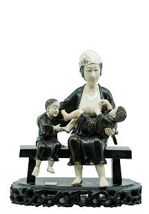 ASIAN BRONZE & IVORY STATUE OF MOTHER AND CHILDREN