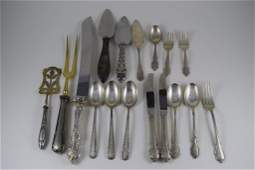 MIXED LOT STERLING SILVER FLATWARE KNIVES SPOONS