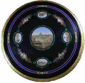 1850 ROMAN SITE MICRO MOSAIC TABLE w/ LAPIS MALACHITE +