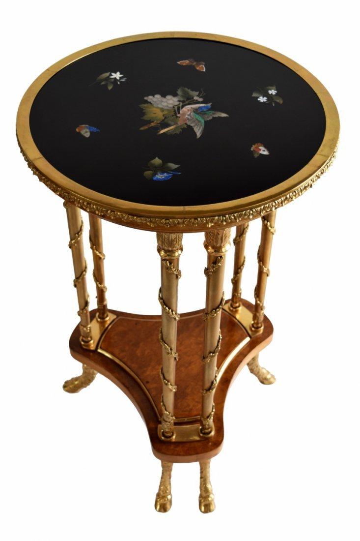 ANTIQUE PIETRA DURA MOSAIC BIRD & BUTTERFLY TABLE