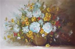 FLORAL STILL BOUQUET OIL ON CANVAS SIGNED HOUSTON