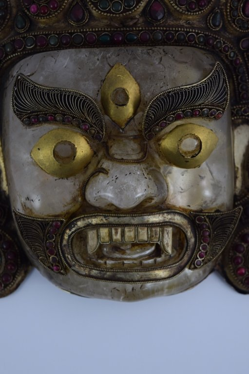 ROCK CRYSTAL STERLING EMERALD GARNET BHAIRAVA MASK - 10