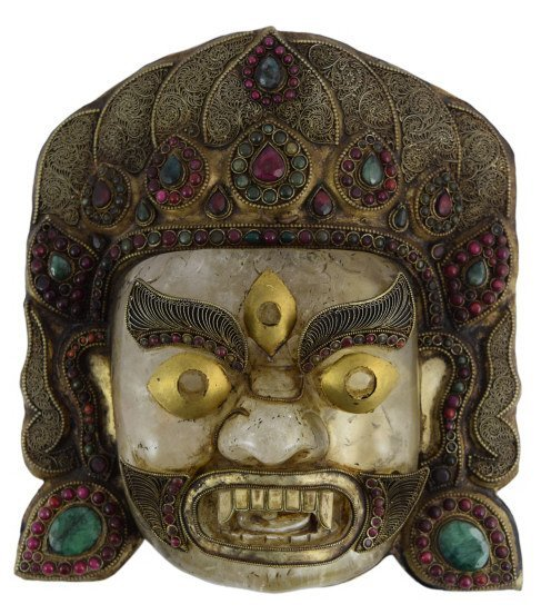 ROCK CRYSTAL STERLING EMERALD GARNET BHAIRAVA MASK