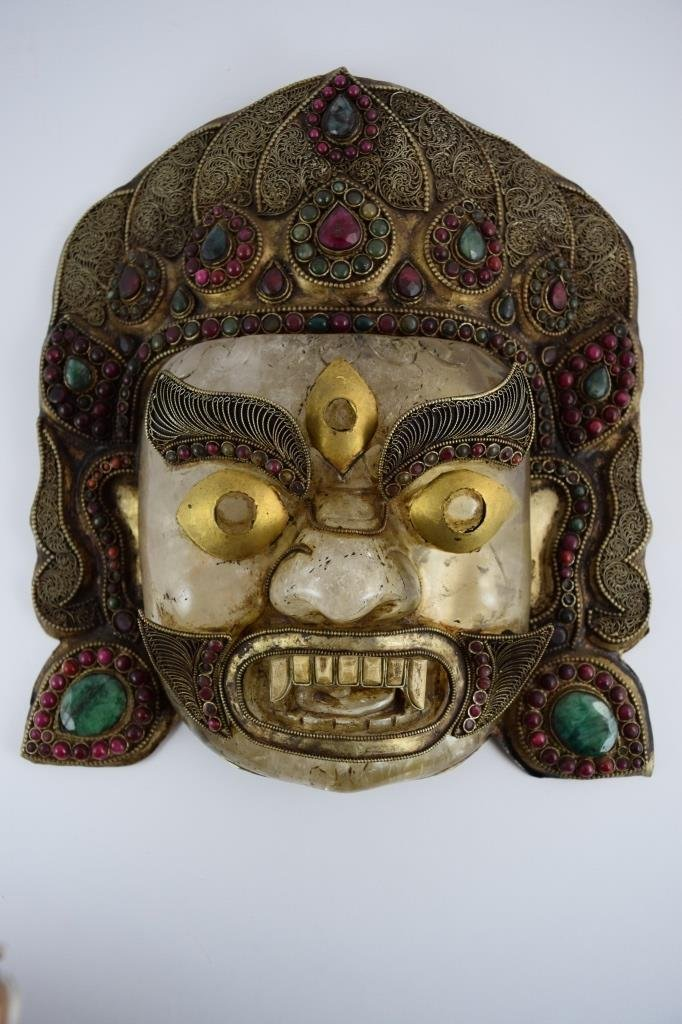 ROCK CRYSTAL STERLING EMERALD GARNET BHAIRAVA MASK - 2
