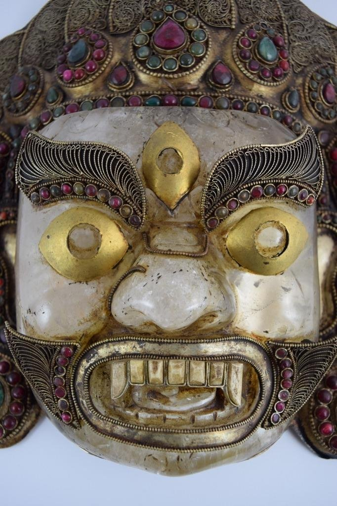 ROCK CRYSTAL STERLING EMERALD GARNET BHAIRAVA MASK - 3
