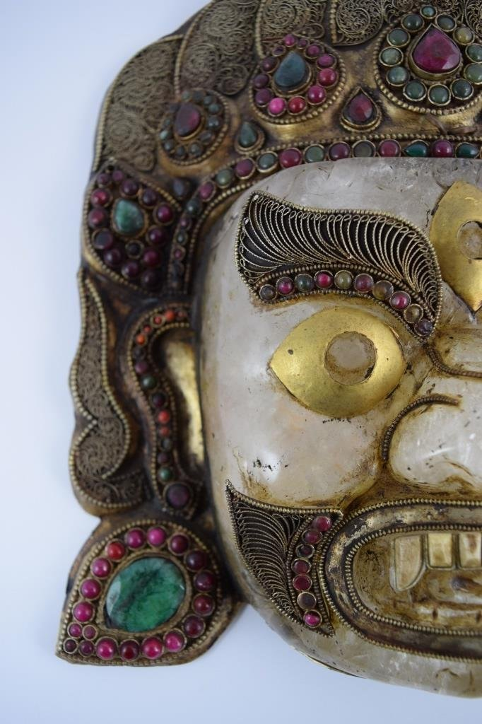 ROCK CRYSTAL STERLING EMERALD GARNET BHAIRAVA MASK - 4