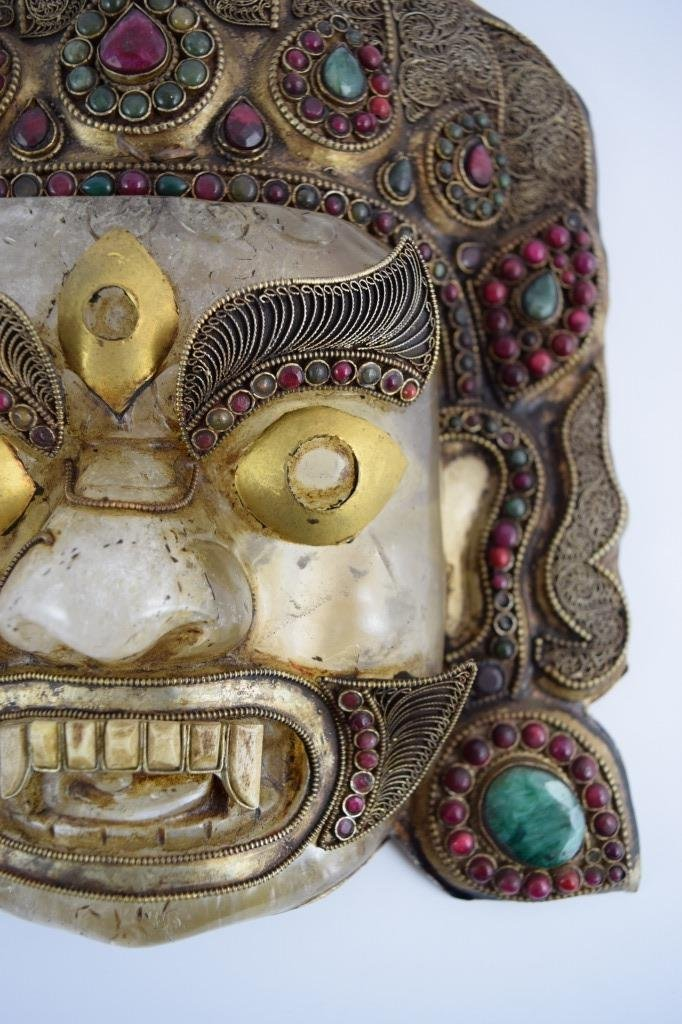 ROCK CRYSTAL STERLING EMERALD GARNET BHAIRAVA MASK - 5
