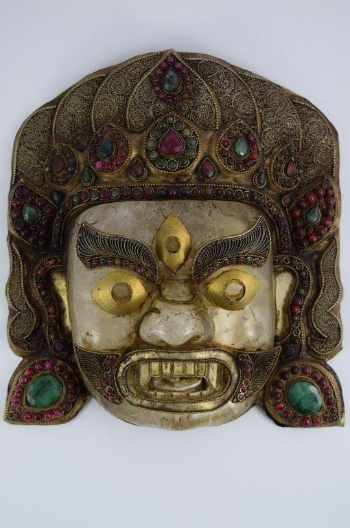 ROCK CRYSTAL STERLING EMERALD GARNET BHAIRAVA MASK - 9