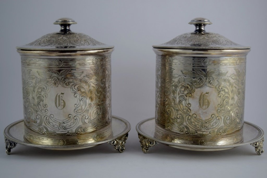 PAIR ENGLISH SILVER PLATE LIDDED COOKIE JARS