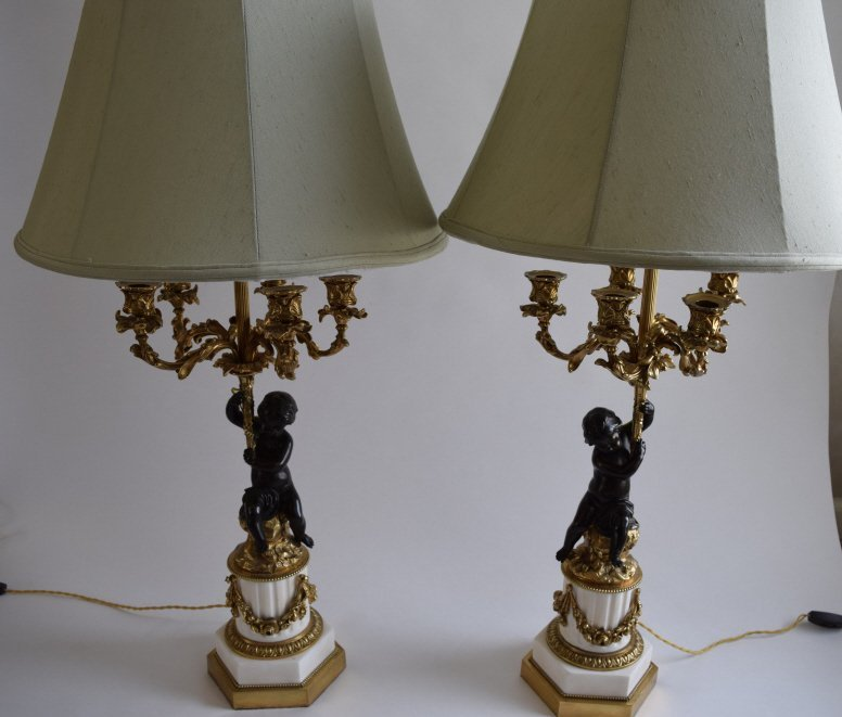 19TH C FRENCH WHITE MARBLE CANDELABRAS LAMPS