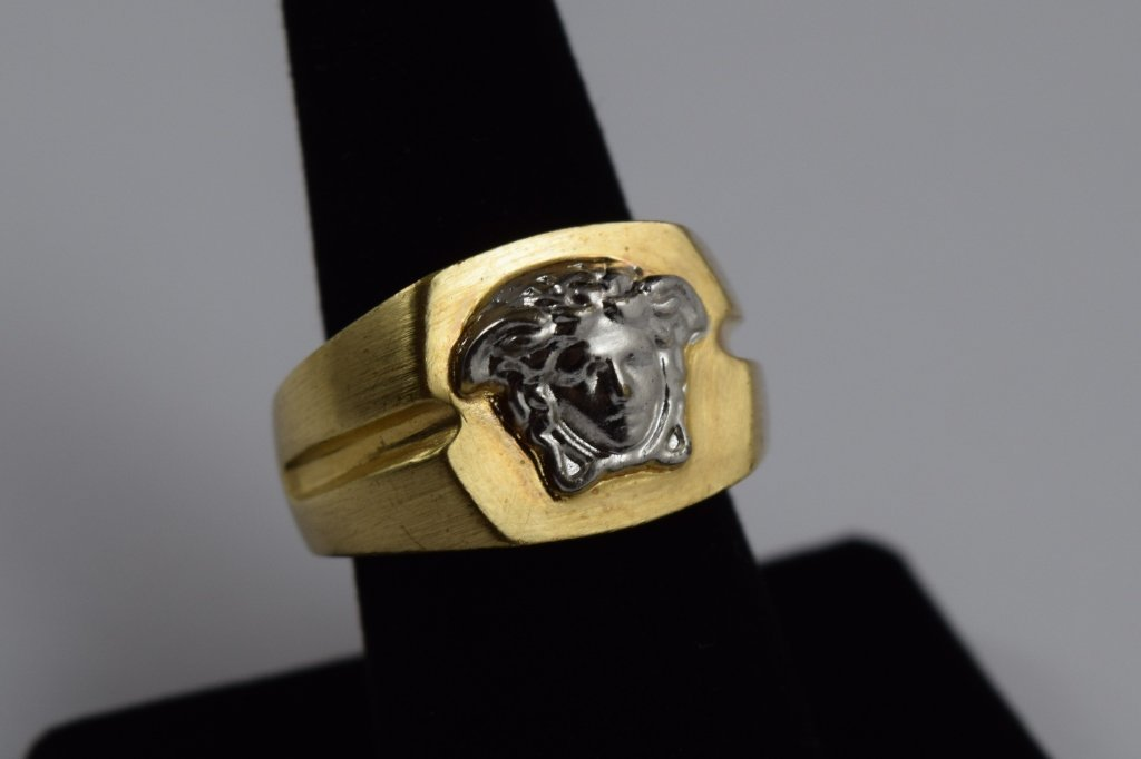VERSACE SILVER MEDUSA ON GOLD RING MADE IN ITALY