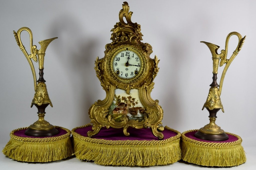 ANSONIA MANTLE CLOCK & EWERS GARNITURE SET