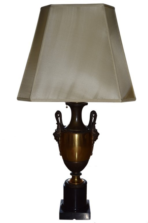 19TH C NEOCLASSICAL MARBLE ORMOLU & BRONZE LAMP