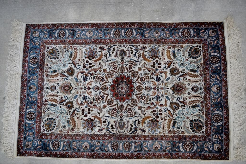 ANTIQUE PERSIAN QOM (QUM) SILK FLORAL RUG 1