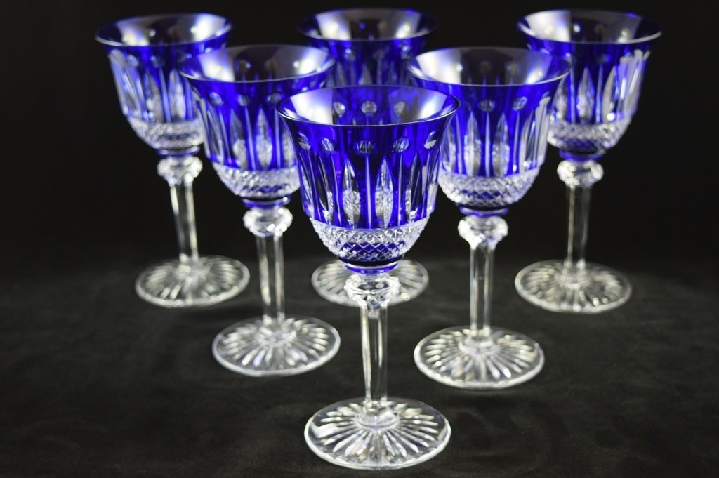 8 RARE FRENCH ST LOUIS TOMMY COBALT BLUE CRYSTAL - 2