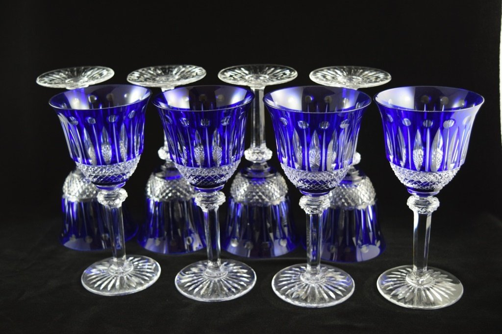 8 RARE FRENCH ST LOUIS TOMMY COBALT BLUE CRYSTAL - 4