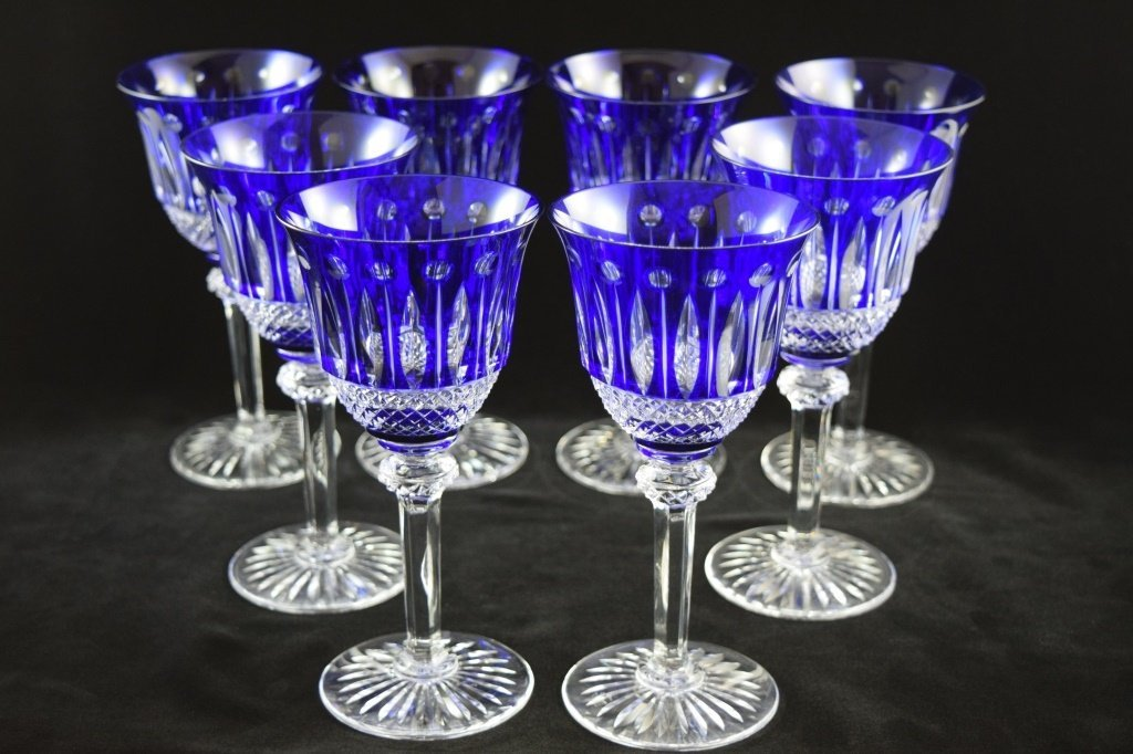 8 RARE FRENCH ST LOUIS TOMMY COBALT BLUE CRYSTAL - 5